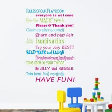 Rules Of Our Playroom Wall Sticker Vinyl Home Wall Decor Colorful Words Decal