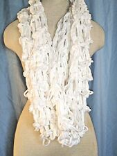 Ivory Loose Knit Chunky Chenille Infinity Scarf