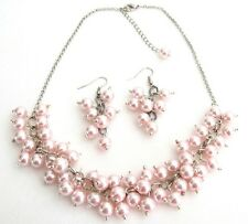 Soft Pink Pearl Chunky Beaded Necklace with Earring Bridal Gift Party Wear Set