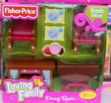 NEW FISHER PRICE LOVING FAMILY DOLLHOUSE DINING ROOM FOOD CHAIRS TABLE BUFFET ++