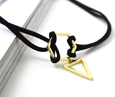 Fashion Black Leather Choker Necklace Wrap Gold Triangle Pendant For Women Girls