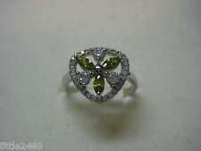 Ring in  .925 Sterling Silver with Green Tourmaline & AAA Grade Australian Cz's
