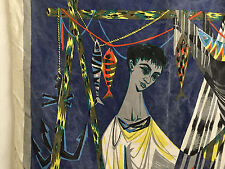 ROBERT DEVIEVE SIGNED TAPESTRY FRENCH CRAFT FRANCE 1950 MID CENTURY MODERN EAMES