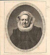 Typical portrait old woman Rembrandt van Rijn London UK GRAVURE OLD PRINT 1869