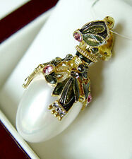 SALE ! SUPERB RUSSIAN EGG PENDANT STERLING SILVER 925 w/ WHITE PEARL and ENAMEL