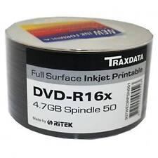 Confezione da 50 TRAXDATA DVD-R: 16X velocità FULL FACE INKJET PRINTABLE 4,75 GB Blank Disc