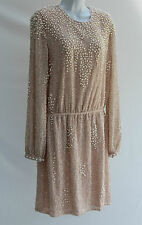 ASOS PREMIUM Pearl Cluster Long Sleeve Mini Evening Wedding Dress 14 42 RRP £100