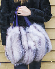 SILVER INDIGO FOX FUR BAG HANDBAG PURSE POUCH PURPLE LEATHER