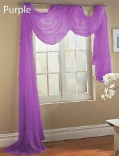"""1PC PURPLE SCARF VALANCE TOPPER CASCADING VOILE SHEER FABRIC 35-37""""X216"""""""