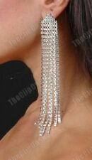 "CLIP ON 5.5"" very long CRYSTAL RHINESTONE sparkly EARRINGS diamante chandelier"