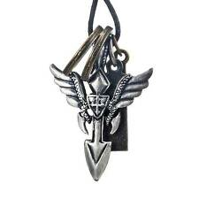 Vintage Royalty Angel's Wing Shield Cross Men's Leather Necklace