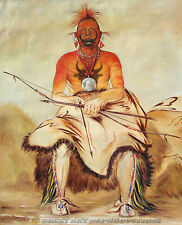 """Buffalo Bull, Pawnee Warrior"" George Catlin Reproduction in Oil, 30""x25"""