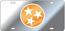 UT VOLS Tennessee Volunteers Laser Cut Tri Star License Plate / Car Tag Mirrored