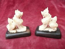 SUPER ANTIQUE PAIR CHINESE CARVED BOVINE BONE SEATED TEMPLE LIONS FU DOGS C1890