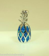 13mm Hawaiian Rhodium Over Sterling Silver Whole Pineapple Man-Made Opal Pendant
