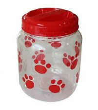 Plastic Red Paws Print Design Dog Treats Food Clear Storage Container Jar
