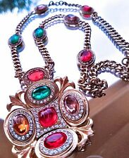 ~WOW New Runway Designer Gold Tone Multi Color Cabochon Crystal Pendant NECKLACE