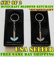 Minecraft Keychain Stainless Pickaxe Series Keychains Figures Minecraft set of 2