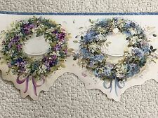 Floral Wreaths Wallpaper Border With Blue Edge