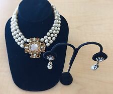 Vintage MIRIAM HASKELL Signed Pearl Gold Filigree Crystal NECKLACE & EARRINGS