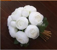 Artificial Wedding Fake Silk Camellia Flower Bridal Bridemaid Bouquet White