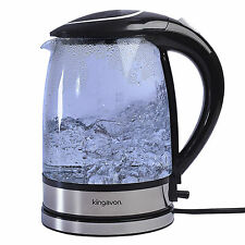 ELECTRIC GLASS  KETTLE BLUE LED ILLUMINATED 1.7L 360 CORDLESS 2200W INSTANT BOIL