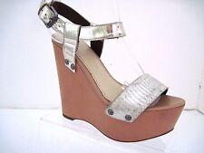 VERA WANG Silver Patent Leather Strap Snake Skin Print Strap Tan Wedges Size 5.5