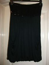 SMART BLACK EMBELLISHED SEQUIN PANEL DRAPED FRONT BUTTON HEM STRAPLESS LBD DRESS