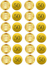 50th Wedding Anniversary Edible Cupcake Fairy Cake Wafer Paper Toppers x 24