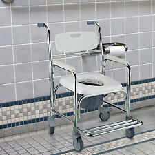 HOMCOM Transit Wheeled Mobile Commode Chair Wheelchair with 4 Brake Castors