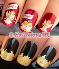 NAIL ART SET #279. CHRISTMAS ANGELS WATER TRANSFERS/DECALS/STICKERS & GOLD LEAF