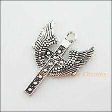 2Pcs Tibetan Silver Tone Wings Cross Charms Pendants 28x39.5mm