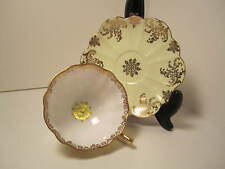 SHELLEY ENG CHINA TEA CUP & SAUCER YELLOW WHITE GOLD SCALLOPED EDGE GORGEOUS!!!!