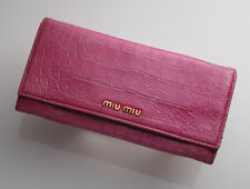 G6025 Authentic MIU MIU Crocodile-Embossed Leather Long Wallet