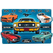 Ford Mustang Collage Embossed Tin Sign Vintage Style Garage Decor 18 x 12