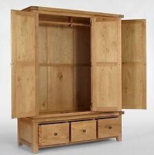Carson solid oak bedroom furniture triple wardrobe with drawers