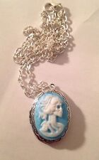 Day Of The Dead Lady Skull Lolita  Oval Antique Silver Locket Necklace 24""