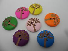 "25 x Wooden~2 hole ""Tree "" Buttons~Flat,round 20mm x 4mm~ Mixed Colours"