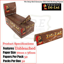 Zig Zag Unbleached Regular Standard Rolling Papers - One Full New Box 50 Packets