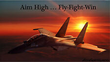 Air Force Jet &Aim High Fly Fight Win Repositionable Wall Sticker Wall Mural 3FT