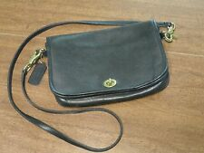 Vintage Coach Black Leather Shoulder Crossbody Purse With Detachable Strap USA