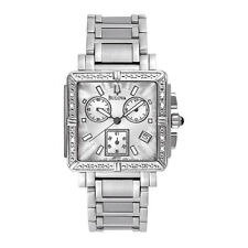 Bulova 96R000 S/S Case & Band Diamond Chronograph Silver Dial Ladies Wristwatch