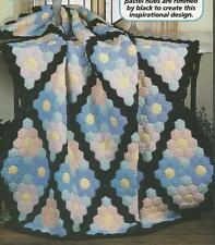 Crochet Pattern ~ Stained Glass Afghan Tiny Hexagon Motifs ~ Instructions