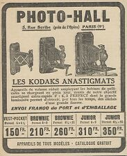 Z9485 PHOTO HALL les Kodaks anastigmats -  Pubblicità d'epoca - 1922 Old advert