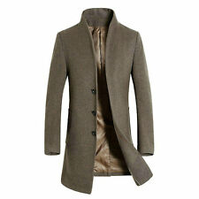 Mens 100% Wool Coat Jacket Mid Long Business Trench Coat Overcoat Windbreak