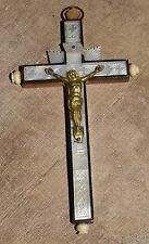 Vtg Antique Crucifix Wood Mother of Pearl Handmade Hanging Cross Jerusalem