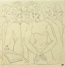 "Audrey Pilkington (1922-2015) ""The Marriage"" pen & ink 1940s/50s"