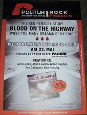 KEN HENSLEY (Uriah Heep) Tour Poster HAMBURG 22.05.07 Deep Purple / Glenn Hughes
