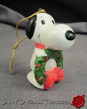 Vintage Felt Bottom Ceramic Peanuts Snoopy Holding Wreath Christmas Ornament