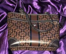 Coach Signature Coated Canvas Chelsea Heritage Stripe Tote F15137 Black & Brown